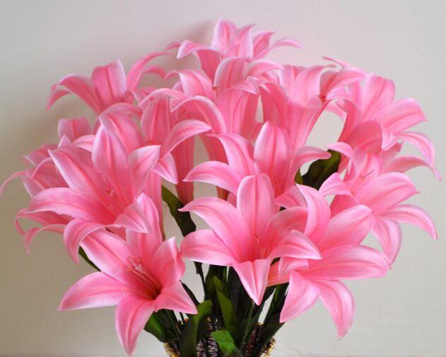 52cm artificial flowers Lilium brownii Silk flowers bouquet flowers ...