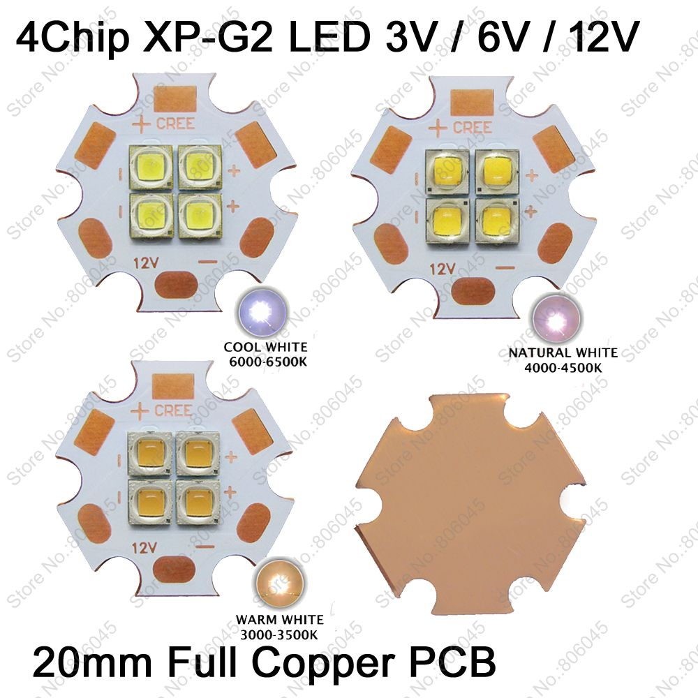 1pcs cree xhp50 xhp70 6000k cool white 18w 35w led emitter 6v 12v with 16mm 20mm for ultra high brightness head lamp car bulbs Cree XPG2 XP-G2 3V 6V 12V 4Chips 4LEDs High Power LED Emitter Cool White / Warm White / Neutral White Colors on 20mm Copper PCB