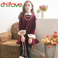 2016 Fashion Baby Girls Thick Warm Velvet Dress Fake 2 Pcs Turn-down Collar Ruffles A-Line Above Knee Children Clothes 2 Colors