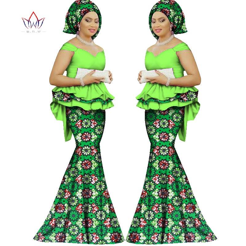 2017 Spring skirt set african direka pakaian tradisional bazin cetak - Pakaian kebangsaan - Foto 3