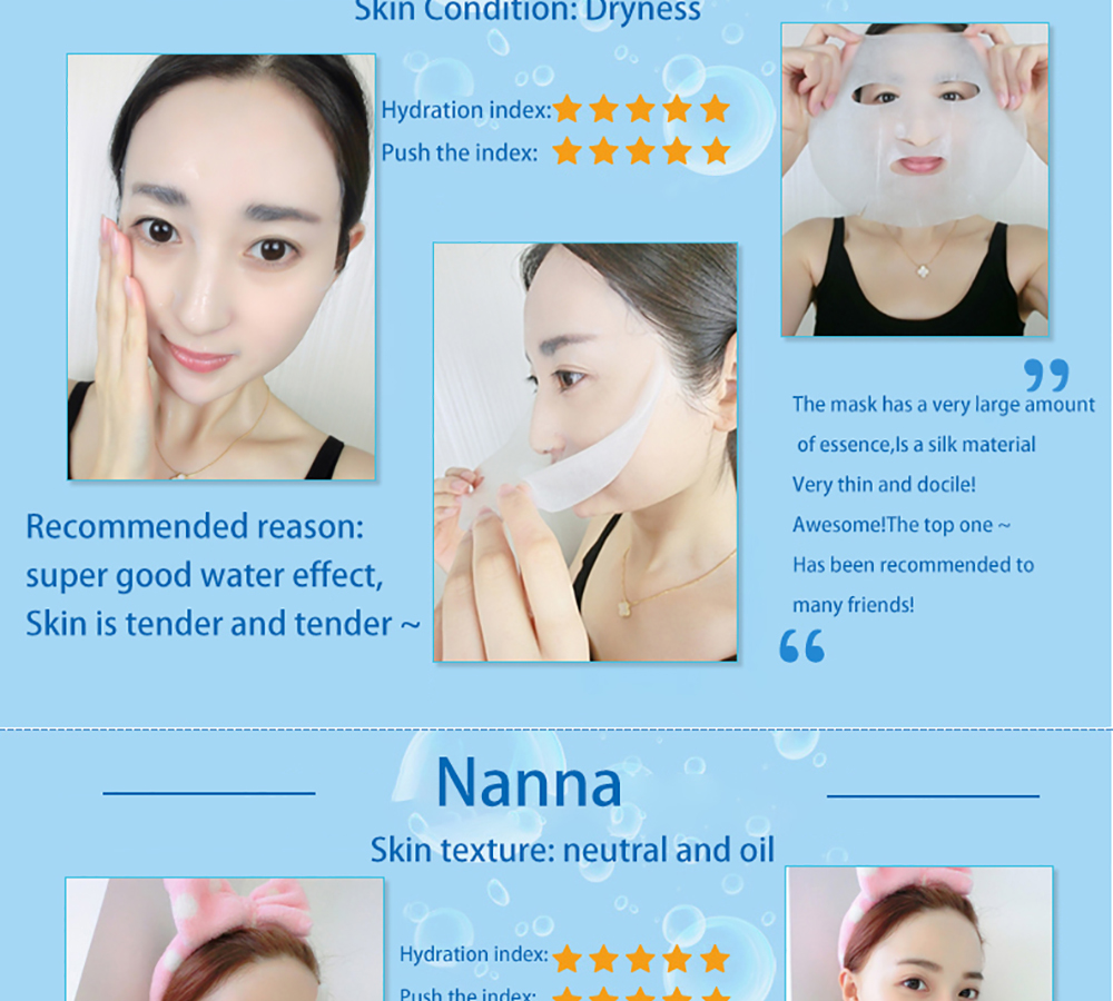 Fonce 10pcs Women Hyaluronic acid Silk Mask for the face Moisturizing Oil control Depth Replenishment Shrink Pores Bright Skin