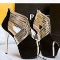 Royalblue розовый серый обувь крест strapy ночной клуб clubwear сексуальные ботильоны многострочные peep toe платформа лоскутные сандалии насос