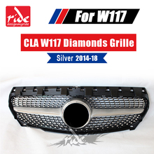 W117 Diamond grille ABS silver for MercedesMB CLA-Class CLA200 CLA250 CLA260 CLA180 CLA45 Sports Without sign Front Grills 2014+