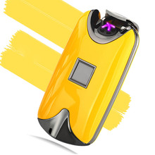 Freies Verschiffen Neue USB Metall Flammenlose Fingerprint Wiederaufladbare Winddicht Elektrischen Dual Arc Zigarettenanzünder