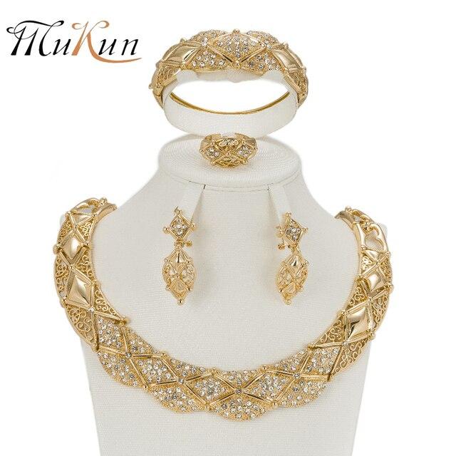 0895751d8e2d MUKUN Mujeres color Oro Imitado Cristal de La Joyería De Moda Nupcial Collar  Pendientes Pulsera Anillos