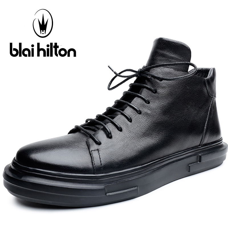 Blaibilton High Top Skateboard Shoes Man Brand Genuine Leather Men's Sneakers Thermal Breathable Lace Up Sport Shoes For Men