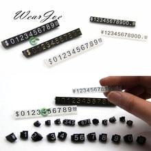 Mini étiquette de prix combinée en acrylique, vente en gros, 5 pièces/lot, numéro ajustable, Euro HK, Dollar US, étiquette de prix, accessoires de bijouterie
