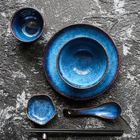 5pcs per set deep blue ceramic tableware 1 person dinner set plate bowl cup sauce dish porcelain tableware