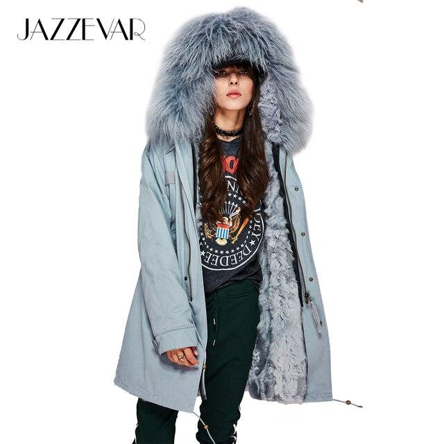Jazzevar новые женские Модные натуральной овечьей шерстью внутри на парка миди Монголия овечьем меху пальто с капюшоном теплая верхняя одежда зимняя куртка