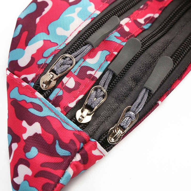防水迷彩ランニングベルトボムポーチファニーパックキャンプスポーツハイキングジッパー袋