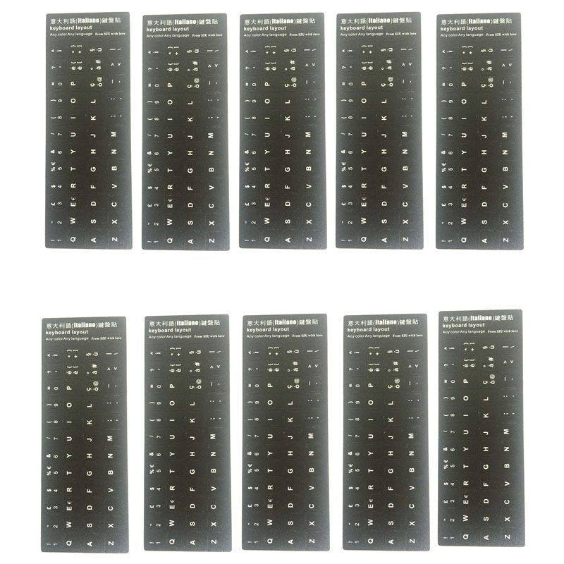 Lot 10pcs Italiano Italy Language Keyboard Sticker Layout Durable Alphabet Black Background White Letters fo Universal PC Laptop