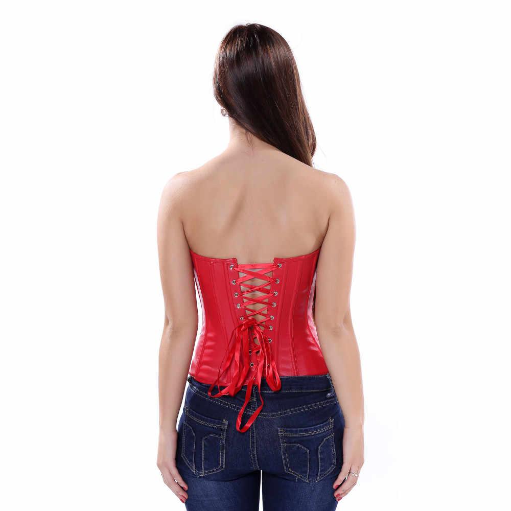 Черный, красный корсет из искусственной кожи стимпанк молния спереди сексуальный Бюстье корсет с чашками Женская Талия Cincher
