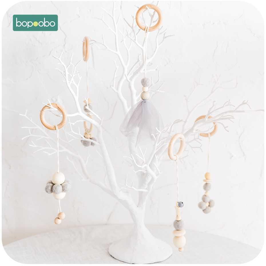Bopoobo детская деревянная цепочка жевательный браслет детский мобильный деревянный прорезыватель погремушка для листьев игрушка может жевать BPA Бесплатно Детские Прорезыватели подарки