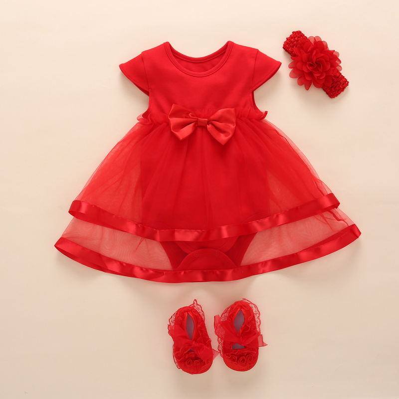 2017 New Baby Girl Dress Romper Summer Kids Princess Bow Ruffle Wedding For Girl 0 1 2 Year Birthday Christening Infant Dresses