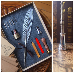 Silver Pheasant Feather Fountain Vintage Dip Pen with Seal Antique Stationery Envelope1 Ink 5 Nibs 1 Pen Holder