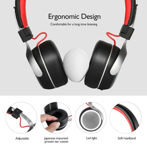 Image 2 - Oneodio A8 Bluetooth Headphones With Microphone LED Light Super Deep Bass Metal Foldable Sport Bluetooth 4.2 Wireless Headset