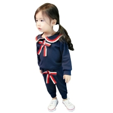 2019 New Girls Spring Autumn Clothes Suit Sailor Collar Bow Long Sleeve T-shirt Pants 2Pcs/Sets Toddler Tracksuit Kids Clothing