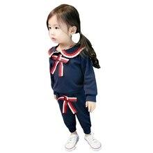 2020 New Girls Spring Autumn Clothes Suit Sailor Collar Bow Long Sleeve T-shirt Pants 2Pcs/Sets Toddler Tracksuit Kids Clothing цена 2017