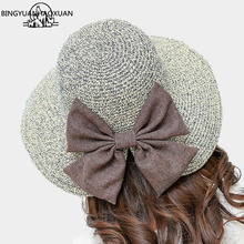 BINGYUANHAOXUAN Womens Wheat Panama Summer Straw Hat New Fashion