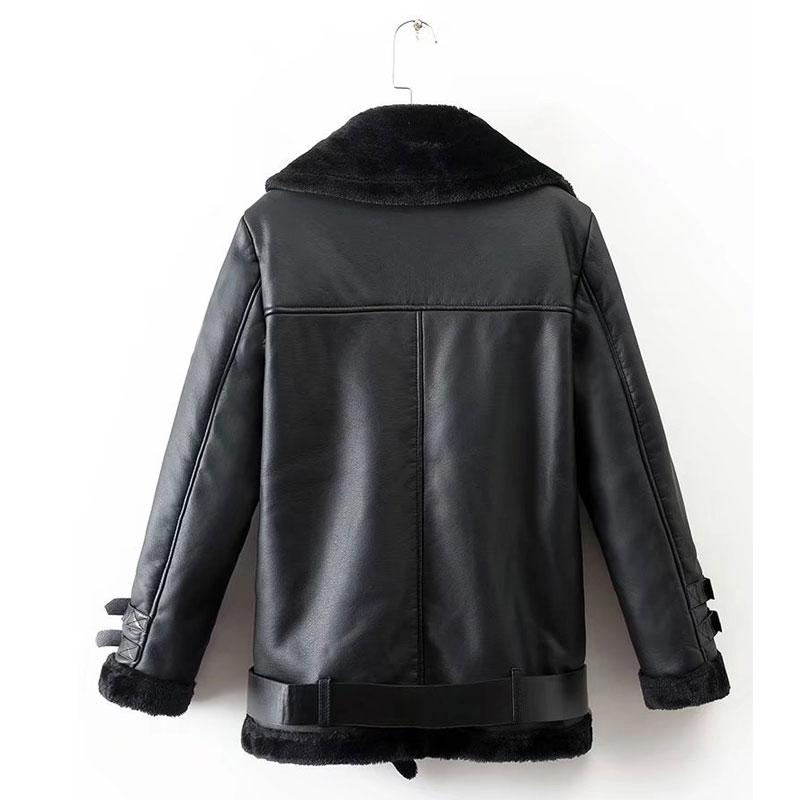 f3e59dfe658c Veste Moto Black Nouvelle Épais Femme Ceinture Faux Manteaux Fausse En  Fourrure Avec Hiver Pu Zipper Mode Chaud Cuir ...