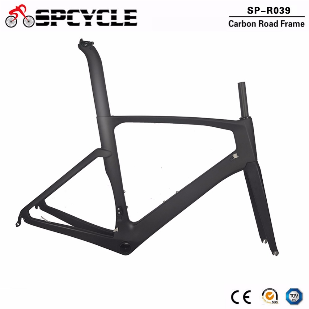 2019 Spcycle Full Carbon Fiber Aero Road Bicycle Frames,700C Cycling Road Carbon Bike Frames Fork Seatpost S/M/L/XL Size BB386