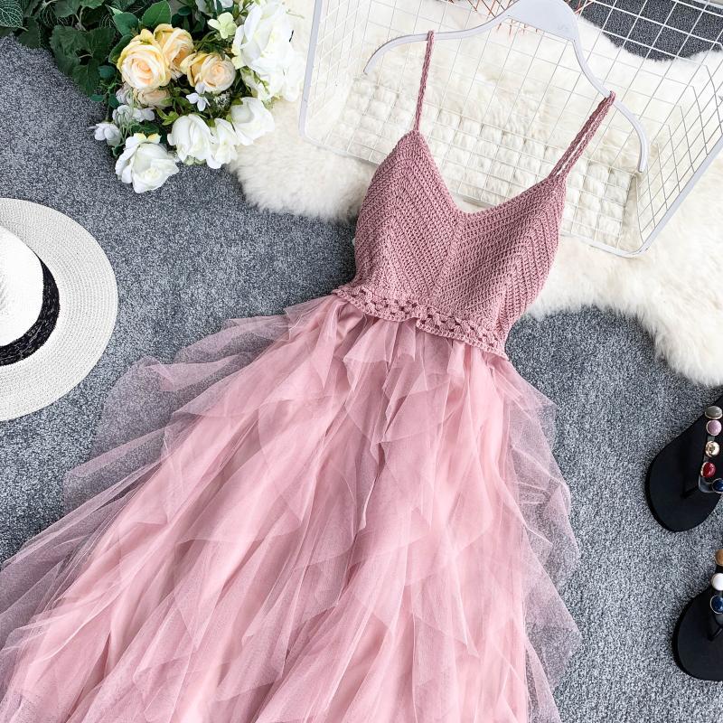 High Waist Mesh Hem Asymmetrical Pleated Tulle Dress 10