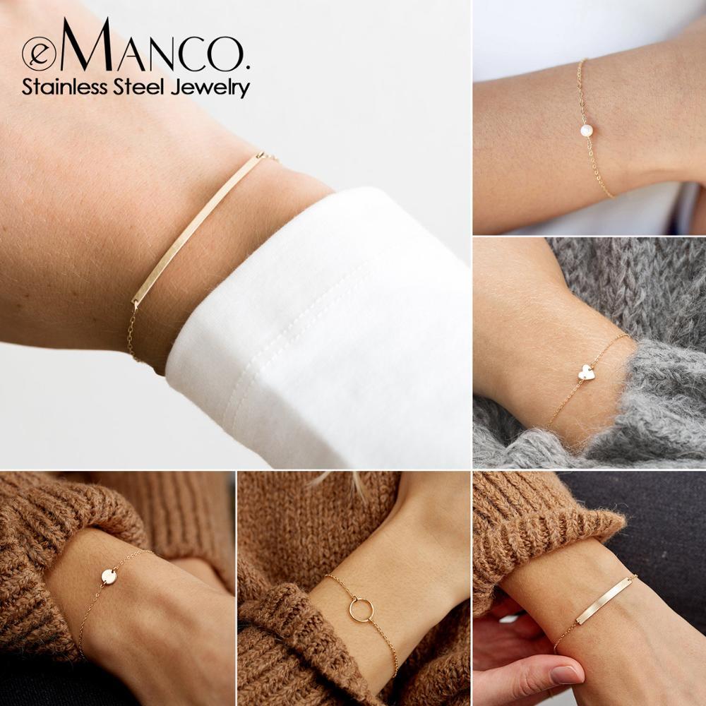 EManco DIY Stainless Steel Bracelets For Women Adjustable Chain Charm Bracelet 2 Piece Set Women Custom Bracelet Jewellery