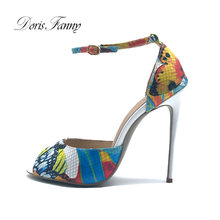 Doris Fanny women summer sandals Printed Leather strap sandal heels Plus size high heels Shoes Woman(China)