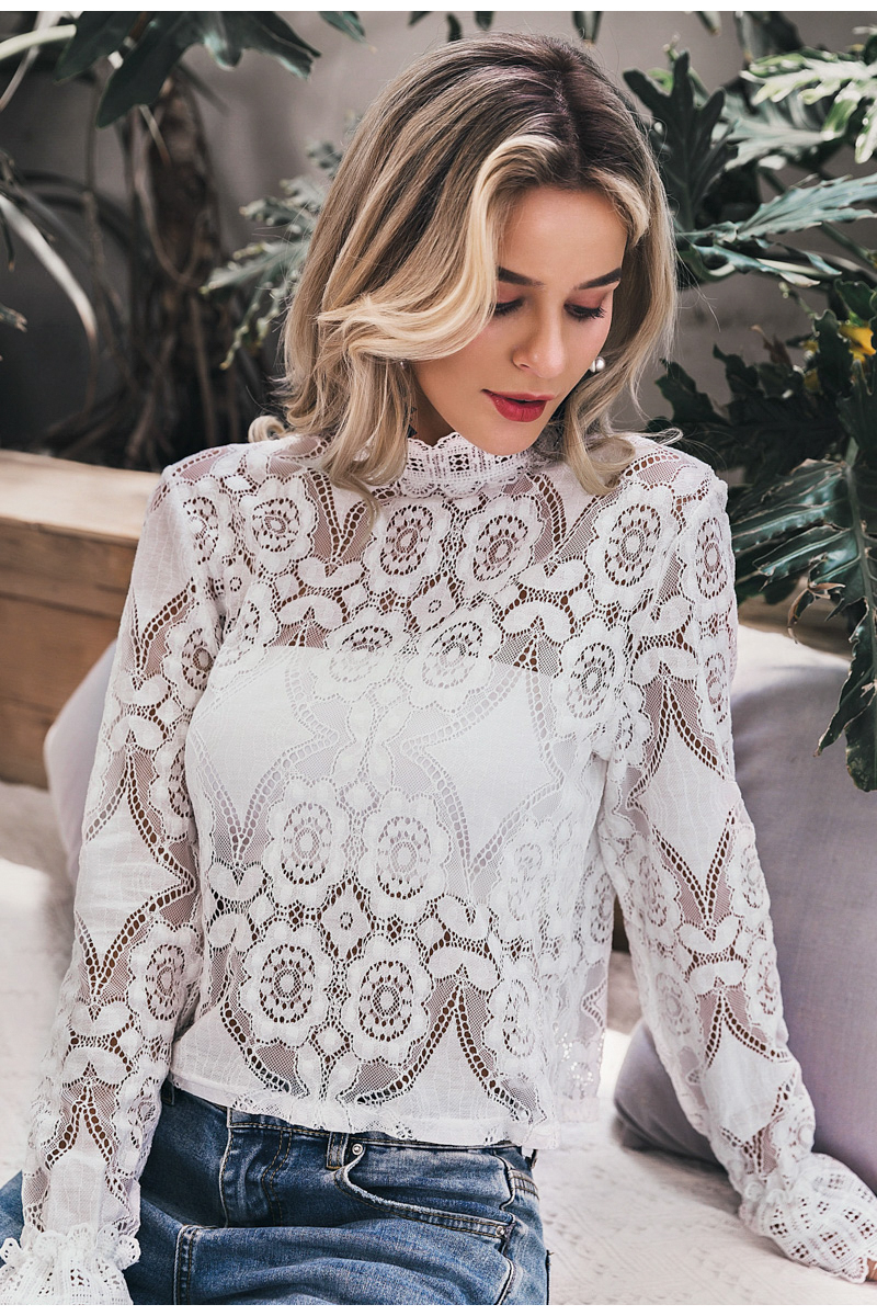 Elegant White Lace Hollow Out Long Lantern Sleeve Blouse Shirt