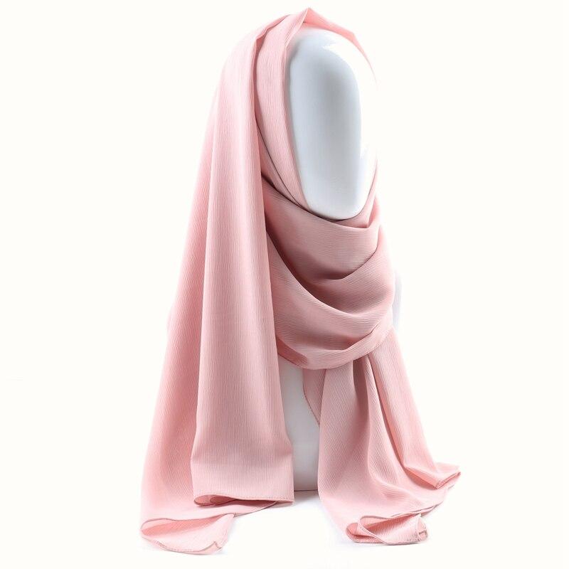 Image 3 - Цельный женский однотонный простой креп шифон хиджаб шарф  Обертывания мягкие длинные мусульманские платки хиджабы шифоновые шарфы  хиджабыЖенские шарфы
