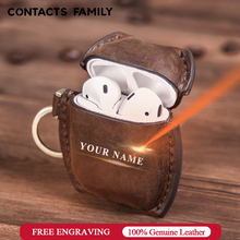 Oil Nubuck Leather Case For AirPods 1/2 Bluetooth Wireless Earphone Protective Cover Skin Airpods Charging Box Accessories