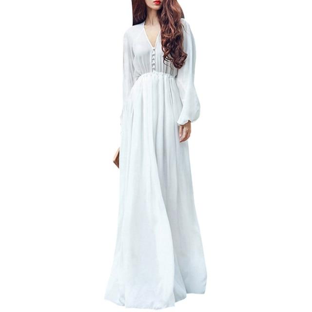 NEW Women Summer White Boho Evening Party Long Maxi Beach Dress Chiffon Sundress Hot