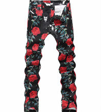 New Arrival Red Rose Flower Print Jeans Fashion Slim Man Classic Trousers D4183