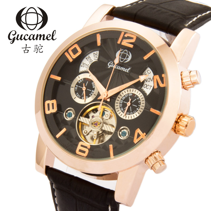 GUCAMEL Top Brand Business Automatic Mechanical Watch Mens Calendar Tourbillon Watches Leather Strap Waterproof Male Wristwatch v2 replacement remote control transmitter 433mhz rolling code top quality