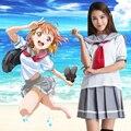 LoveLive Uniformes Escolares Cosplay Amor En Vivo! el sol!! Aqours Takami Chika Love Live Cosplay Traje de Uniforme Escolar