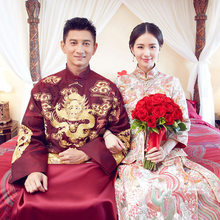 Chinese Star style wedding show the groom wedding gown robe clothing pratensis dragon gown evening dress male Vestido de noiva(China)