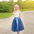 Fitas Cintura Tule Saia de Uma Linha Na Altura Do Joelho Com Revestimento Azul Escuro Saia Simples Mulheres Saias Primavera Verão