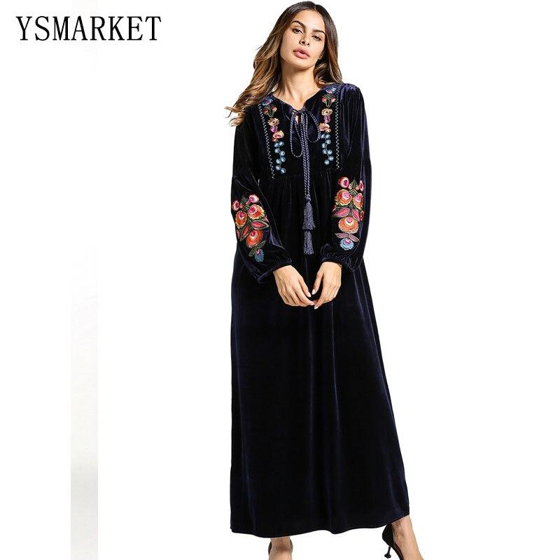 Tissu de velours des femmes musulmanes du moyen-orient pour les robes robe arabe brodée de grande taille robe bleu foncé vin rouge A5465