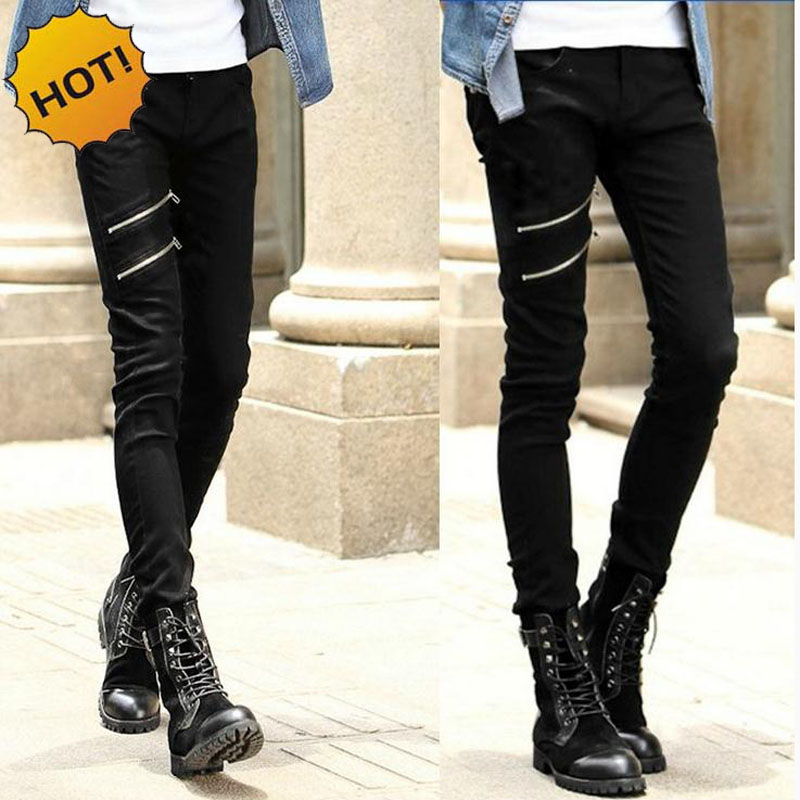 Hot 2016 Fashion Teenagers Skinny Black Double Zipper Design Show Thin Casual Hip Hop Jeans Boys Pencil Pants 28-34