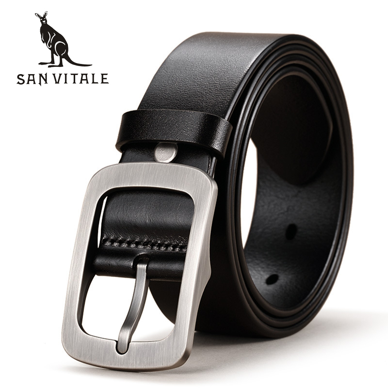 SAN VITALE New Designer Men's Belts 100% Genuine Leather Brand Strap Male Waistband Pin Buckles Fancy Vintage for Cowboy Jeans