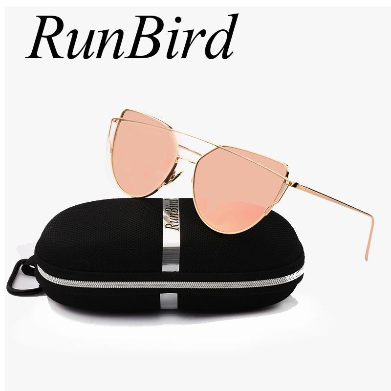 Mirror Flat Lense Women Cat Eye Sunglasses Classic Brand Designer Twin-Beams Rose Gold Frame Sun Glasses for Women with Box M195