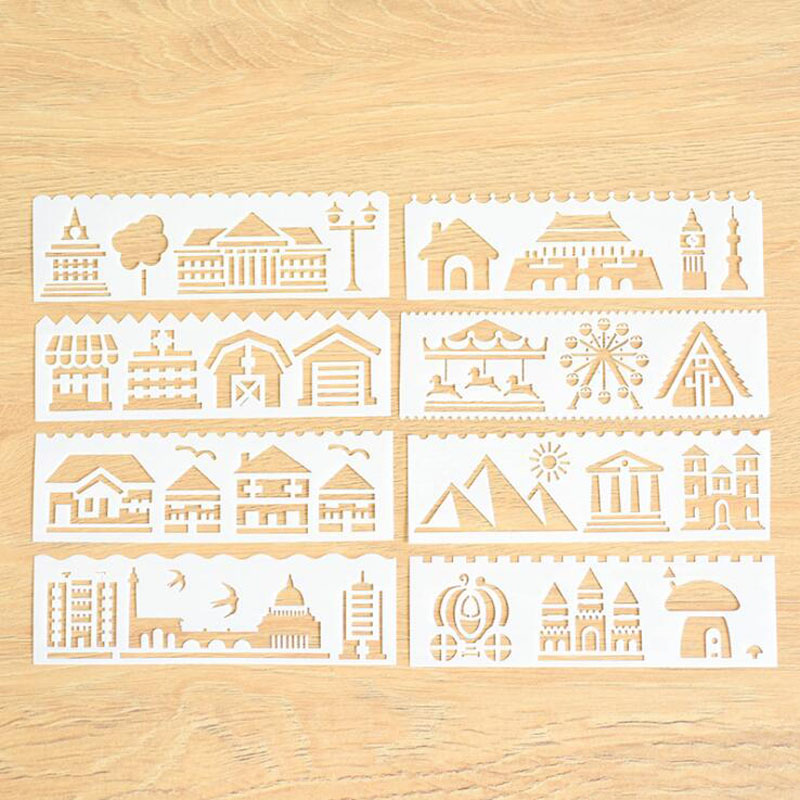 8pc Stencil Building House Child Painting Openwork Diy Scrapbooking Album Decorative Bullet Journal Template Drawing Stencils Home