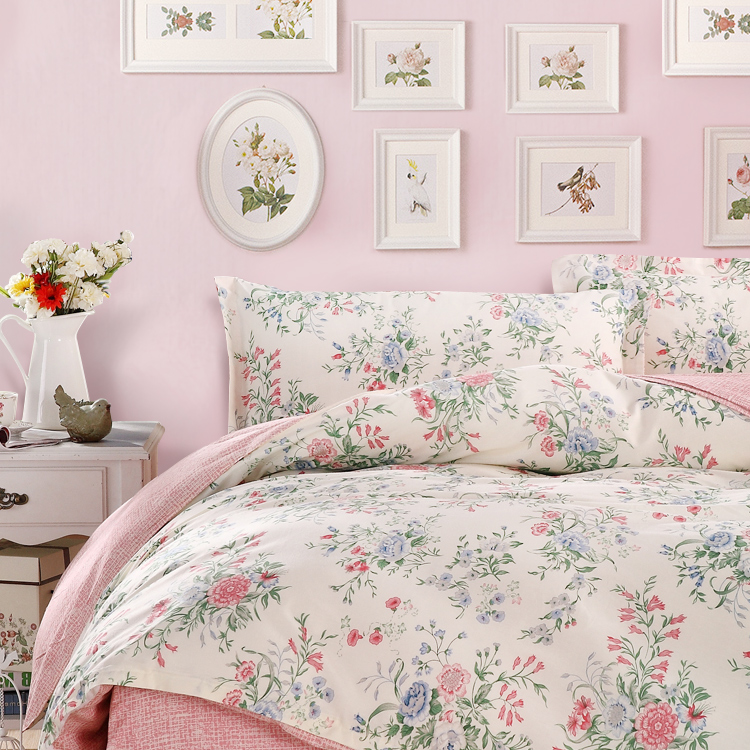 Su0026V New Style Home Textile American Country Bedding Set 100% Cotton  Bedclothes Ikea Pink Flower Duvet Cover Bed 4Pcs Super Deal In Bedding Sets  From Home ...
