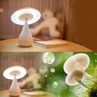 Free Shipping Creative Air Purifying LED Lamp Smoke Cleaner Rechargeable Touch Control Night Light Mushroom Desk