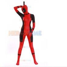 Traje de señora Deadpool de Lycra de cuerpo completo Zentai traje rojo  femenino Deadpool superhéroe disfraz envío gratis 554b3334c17
