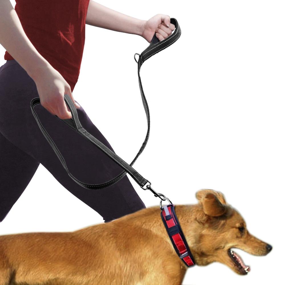Dog Leash 2 Handles Black Nylon Padded Double Handle Leash For ...