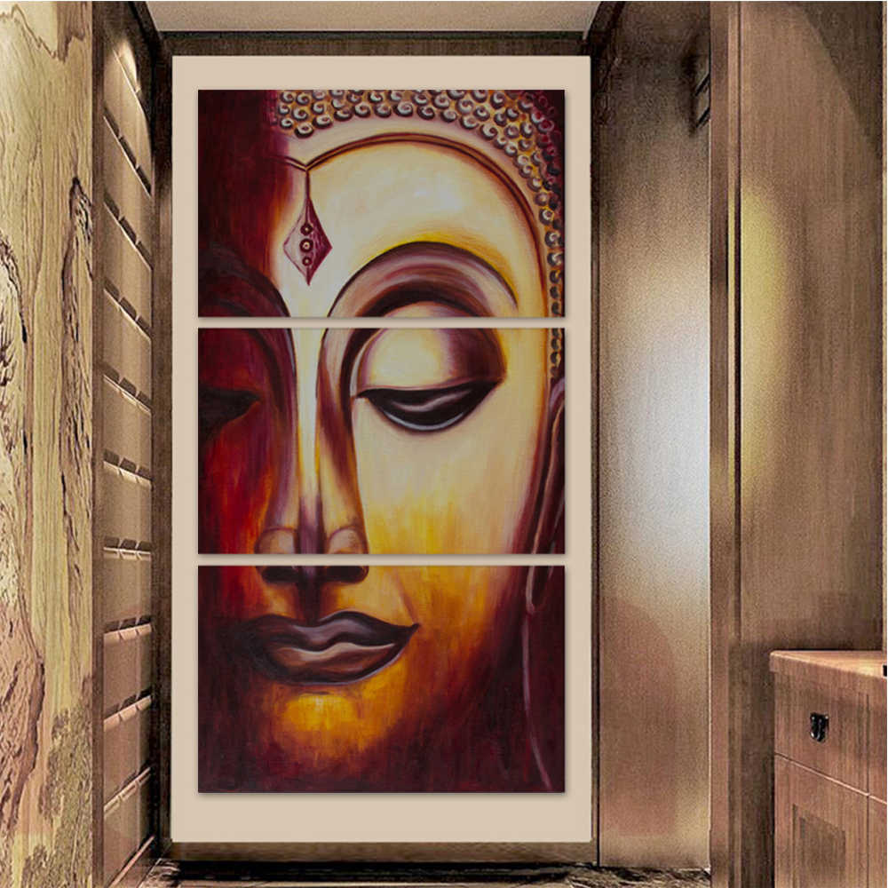 Unframed 3 HD Canvas Paintings Buddha Main Picture Living Room Decoration Oil Painting Modular Art Mural Painting Unframed