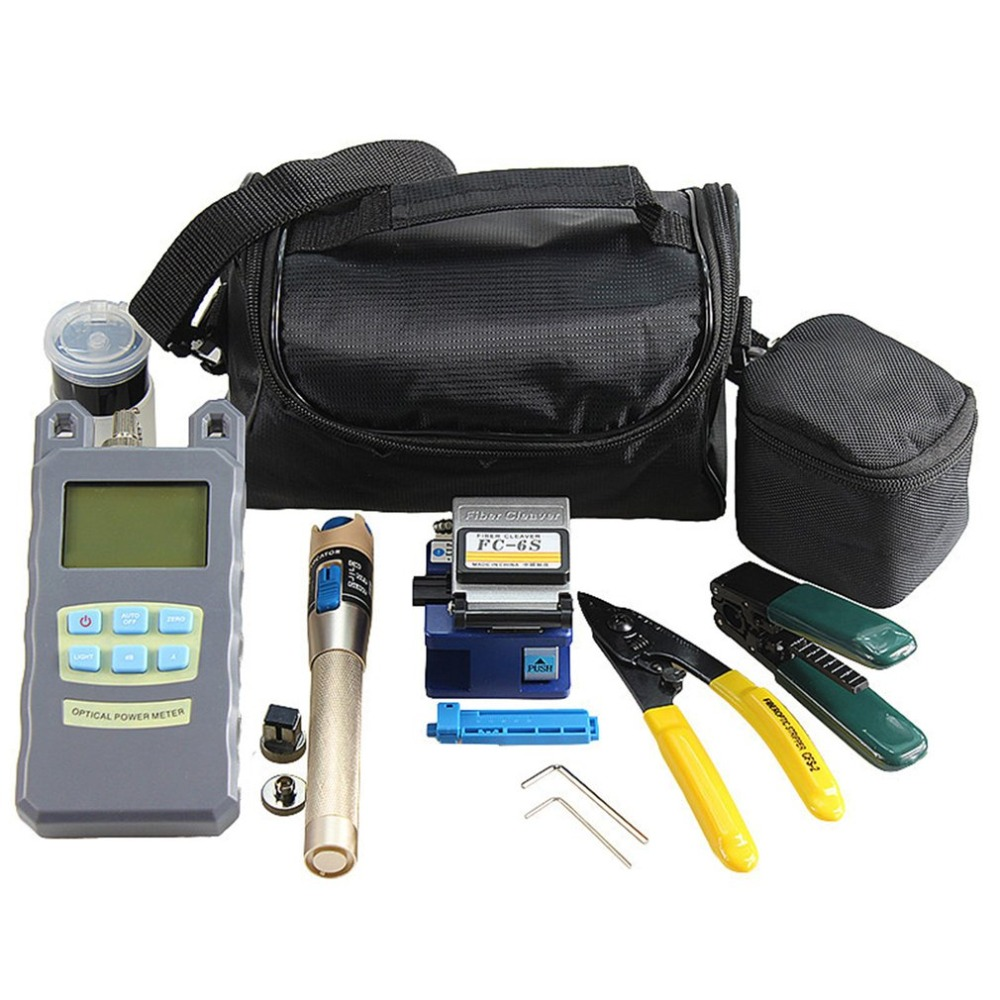 15pcs/Set Fiber Optic FTTH Tool Kit Fiber Cleaver Optical Power Meter Tester Visual Fault Locator Fiber Stripper -70 to 10dBm15pcs/Set Fiber Optic FTTH Tool Kit Fiber Cleaver Optical Power Meter Tester Visual Fault Locator Fiber Stripper -70 to 10dBm
