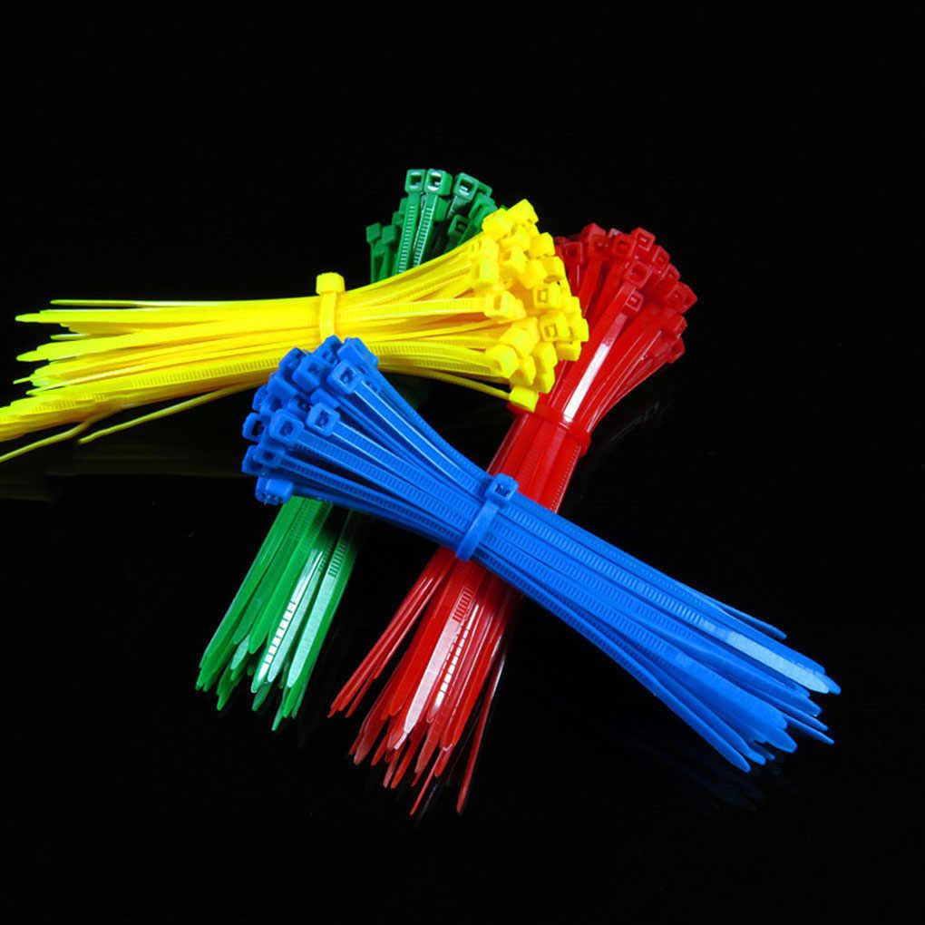 100 pcs 3*100mm Reutilizáveis Colorido Padrão de Auto-bloqueio de Plástico Nylon Cabo Fio Laços Zip Tie