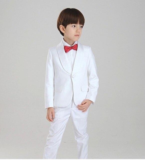 Дети Белый Смокинг (Пальто + Брюки + Галстук + Рубашка) 4 Шт. BF807 Заказ Для Casamento Вечернее смокинг Костюм Мальчика одежда
